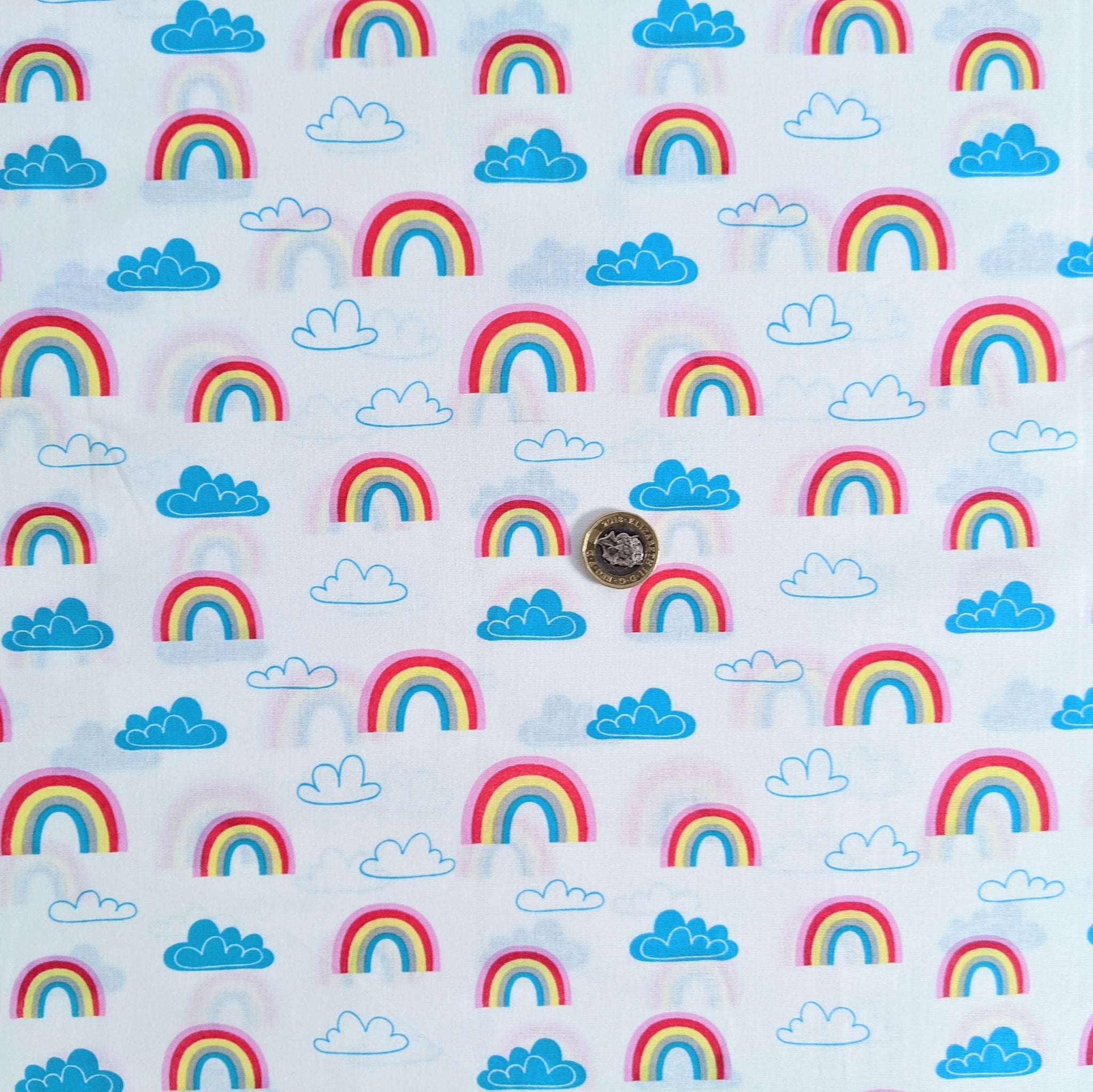 Rainbows and clouds - 100% cotton