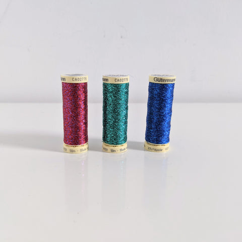 Set of 3 Christmas colour Gutermann Metallic Effect Thread 50m, red, green and blue