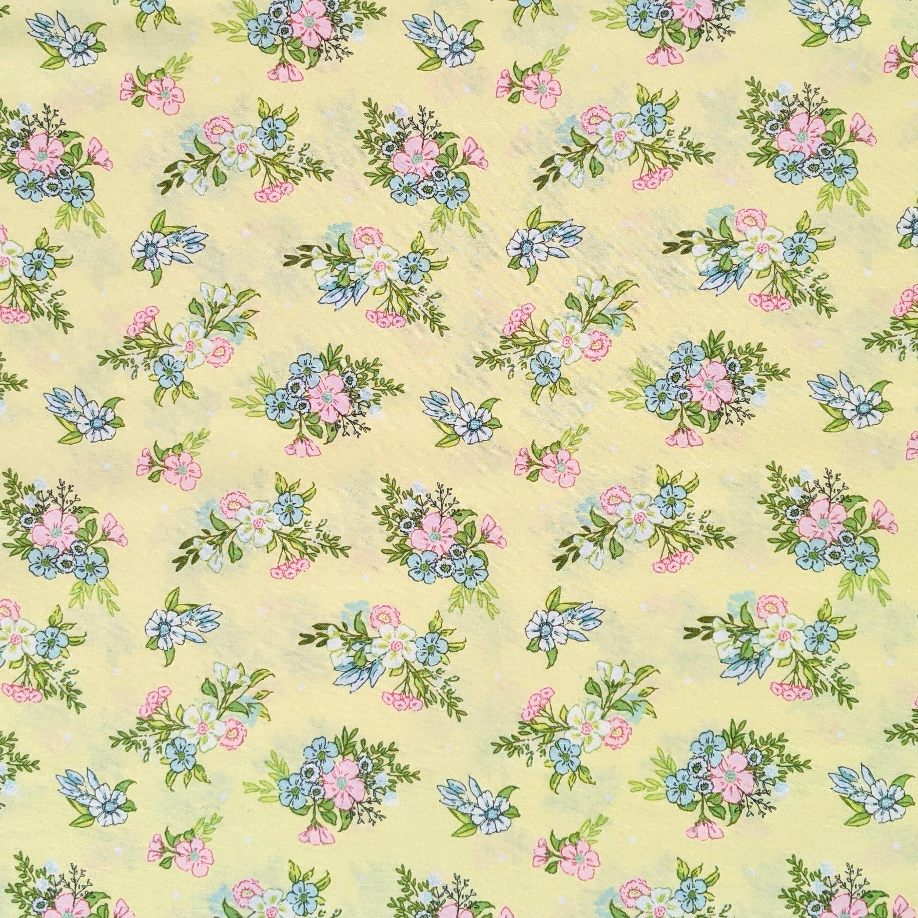 Pastel yellow floral - 100% cotton - Craft Cotton co