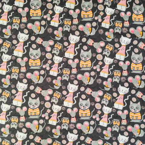 Cats and mice - 100% cotton - Kitty Garden collection - Craft Cotton co