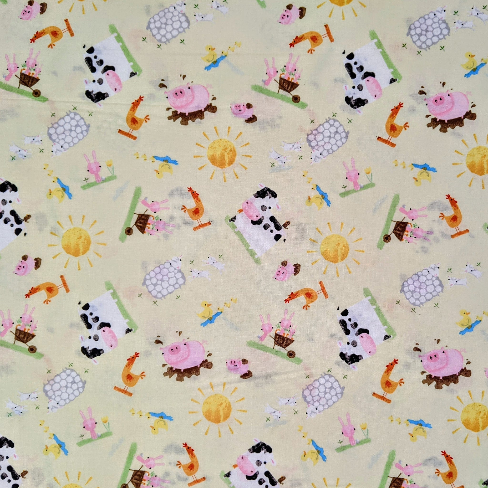 Farm animals on yellow - 100% cotton - Playful farm collection - Craft Cotton co