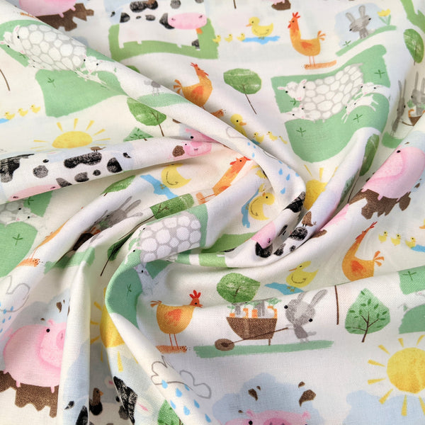 Farmyard animals on white - 100% cotton - Playful farm collection - Craft Cotton co