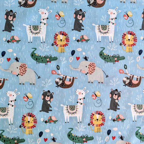 Animals on blue - 100% cotton - Wild About You collection - Fabric Editions