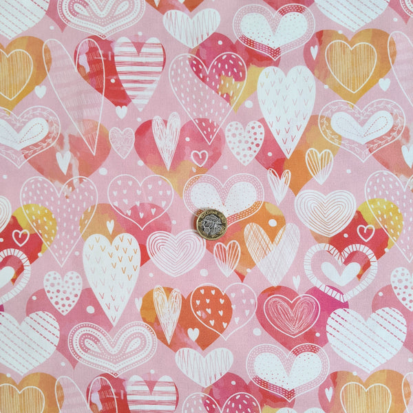 Doodle hearts - 100% cotton fabric - Little Johnny