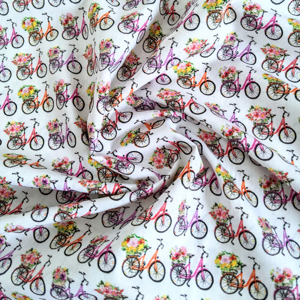 Bikes and flowers - 100% cotton - John Louden