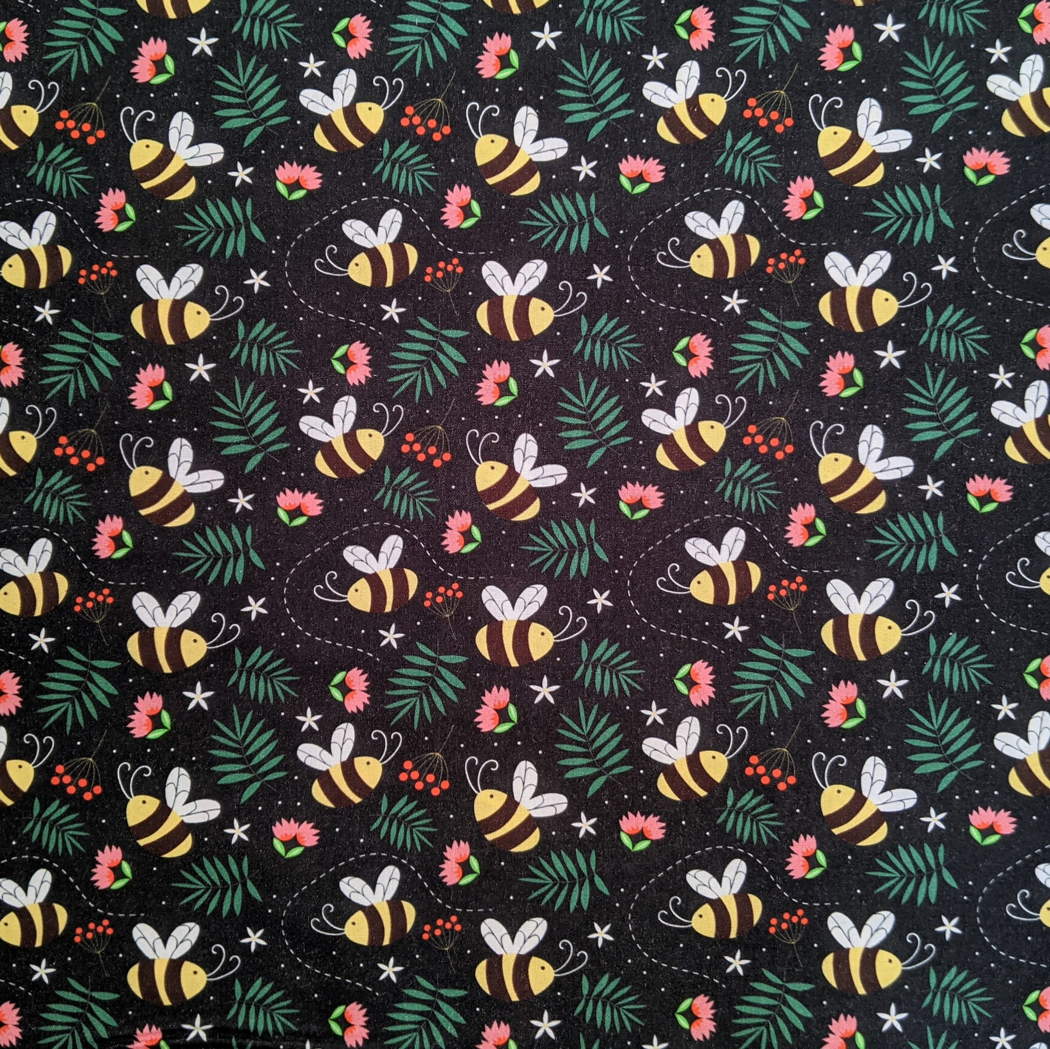 Bees and flowers - 100% cotton - Craft Cotton co - Buzzy Bees