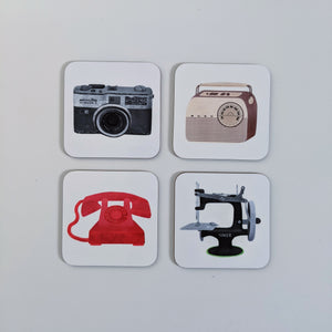 Retro coaster set of four - Fiona Clabon Illustration