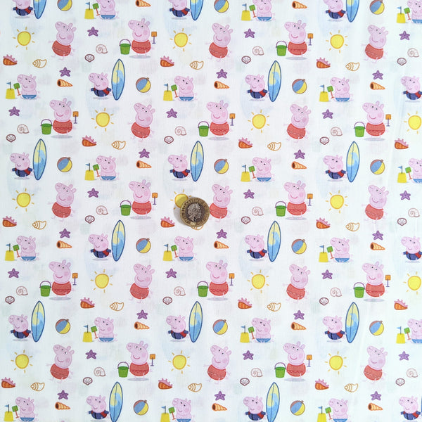 Peppa Pig Beach Day Cotton - 100% cotton fabric - Little Johnny