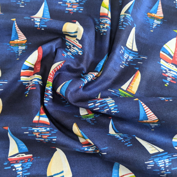 Sailing boats on blue - 100% cotton - Makower - By The Sea