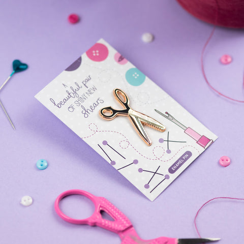Shiny New Shears Enamel Pin - Rose Gold - Two For Joy Illustration