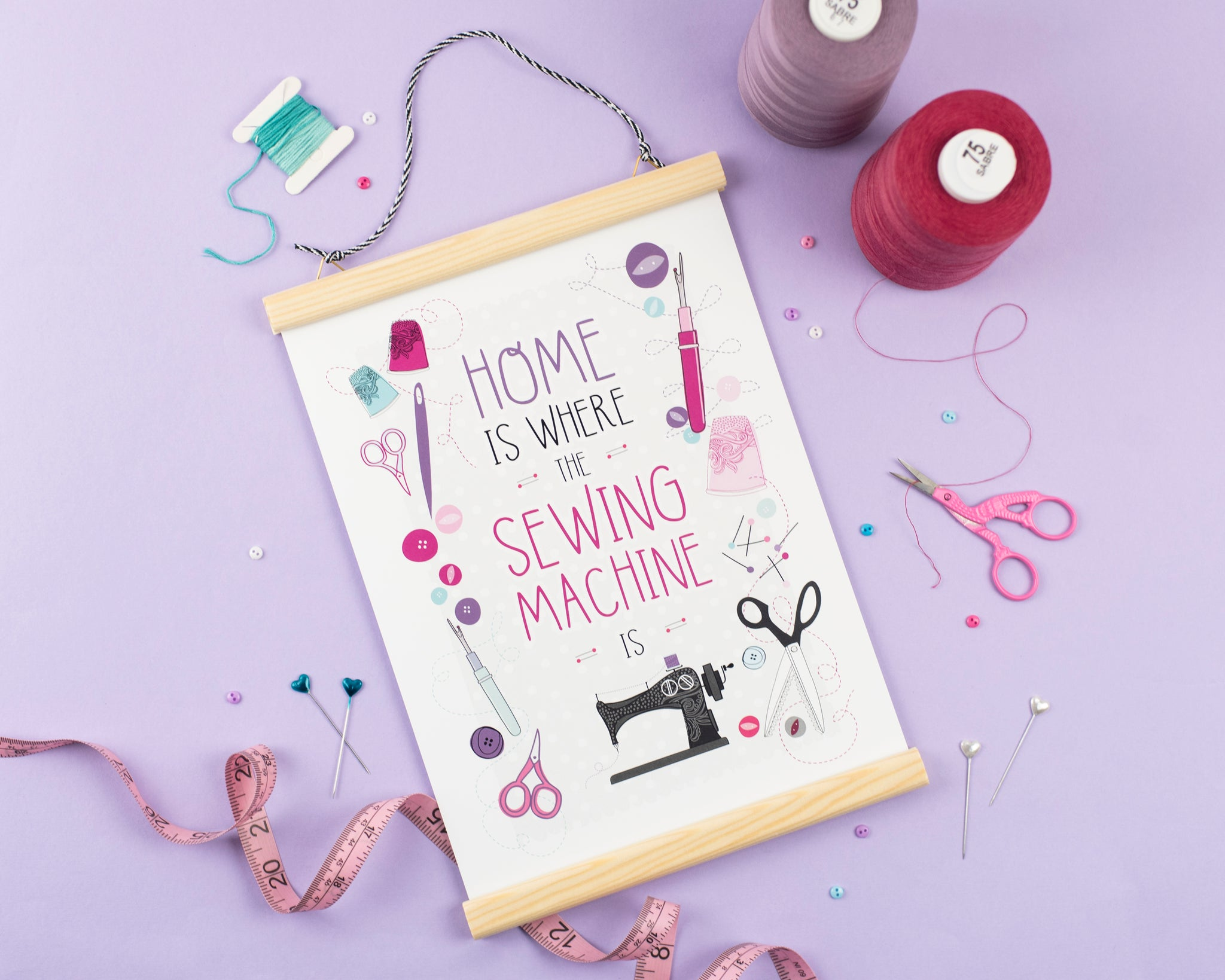 Home is where the sewing machine is - A4 Print - Two For Joy Illustration