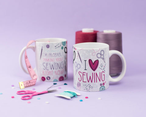 I Love Sewing - Seamstress Mug - Two For Joy Illustration