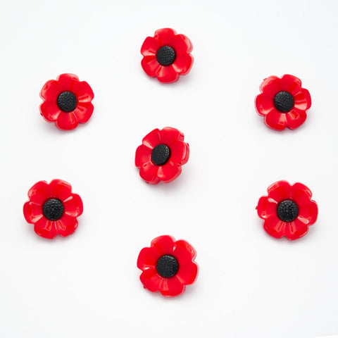 Poppy Buttons - 18mm - pack of 10