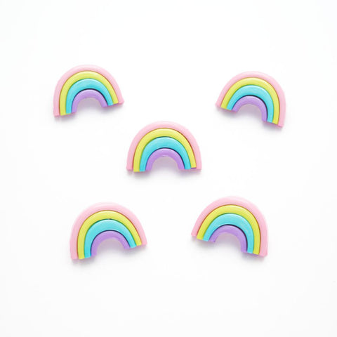 Pastel rainbow novelty shank buttons - 25mm