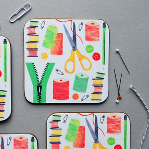 All Things Sewing coasters - Fiona Clabon Illustration