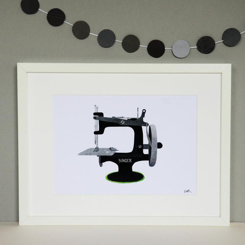 Singer Sewing Machine A4 print - Fiona Clabon Illustration