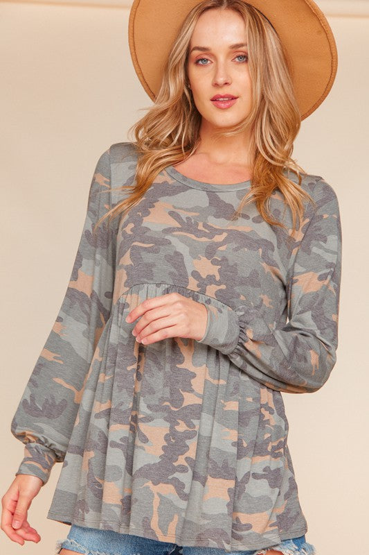Camo Baby Doll Top