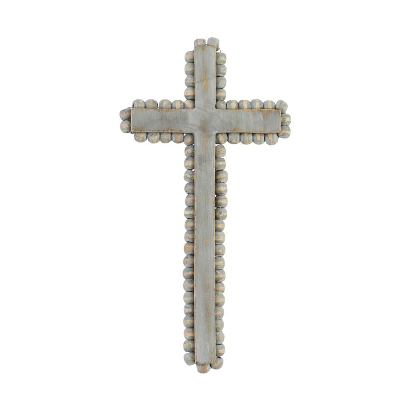 Medium Beaded Wood Cross
