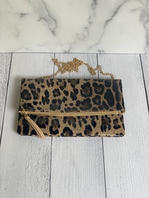 Leopard Convertible Clutch Crossbody