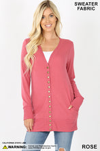 Load image into Gallery viewer, Zenana Snap Button Sweater Cardigan