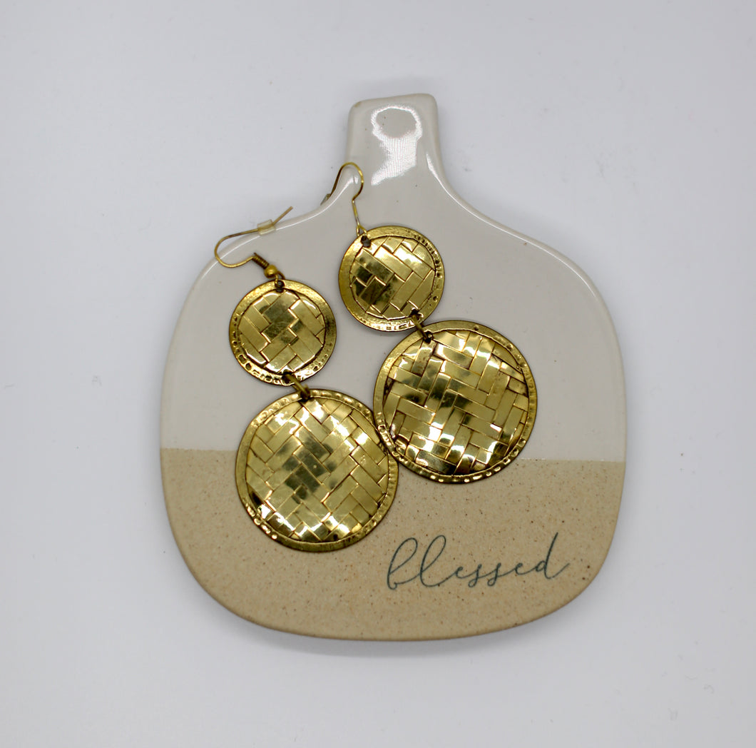 Basket Weave Disk Earrings