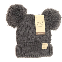Load image into Gallery viewer, Kids Solid Double Pom Beanie