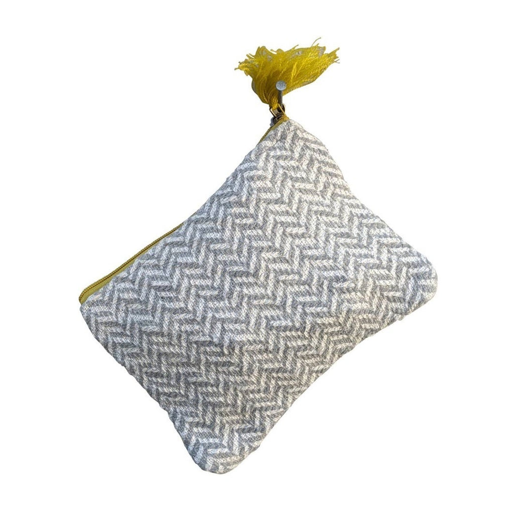 Gray White Zig Zag Medium Pouch