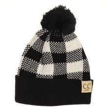 Load image into Gallery viewer, Buffalo Plaid Pom Baby Beanie