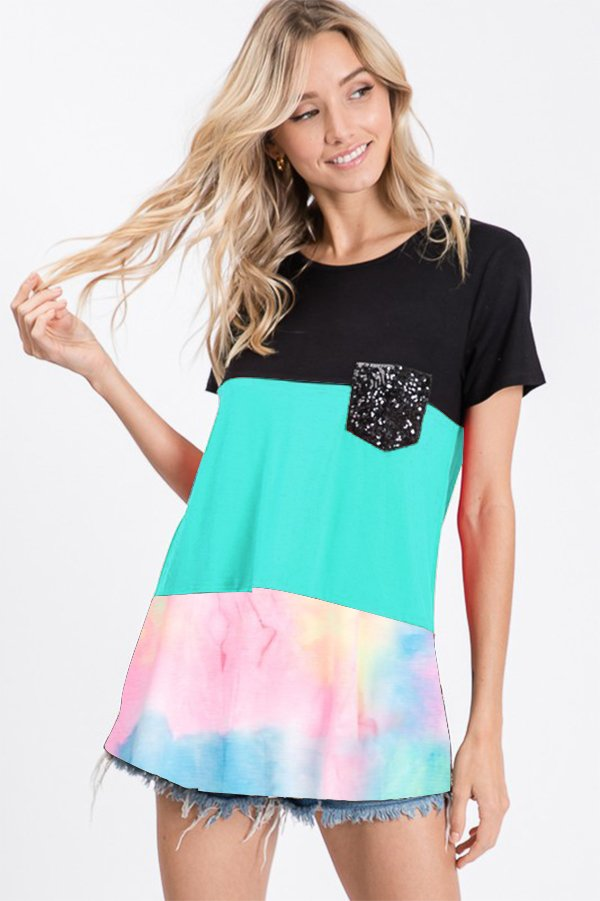 Heimish Color Block Tie-Dye Shirt