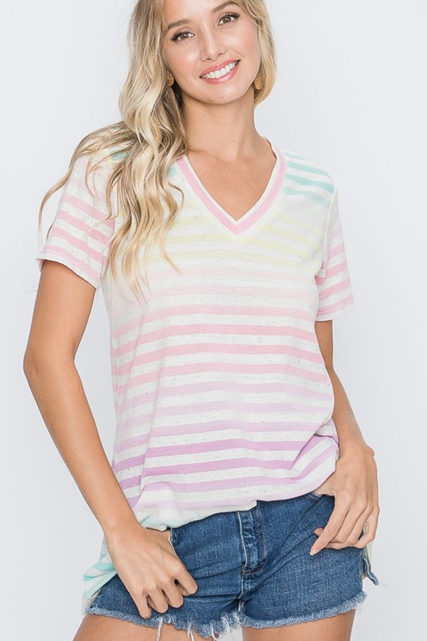 Heimish Short Sleeved Multi Color Striped Top