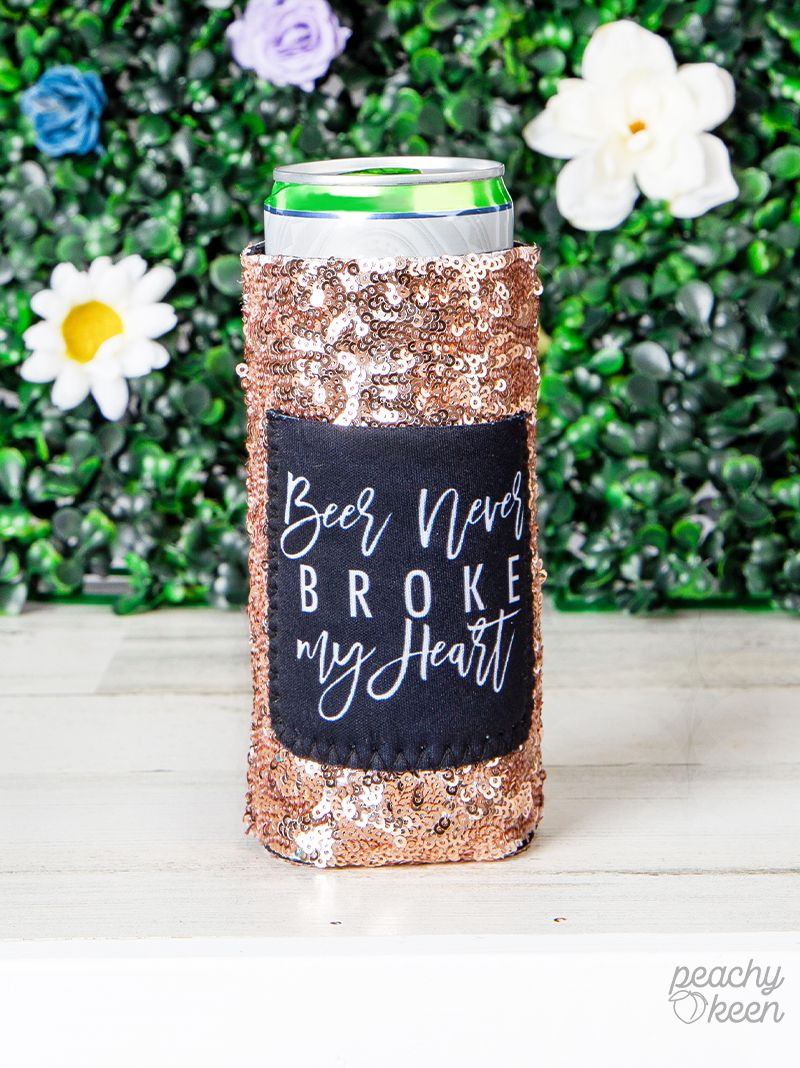 Gold Sequin Beer Koozie