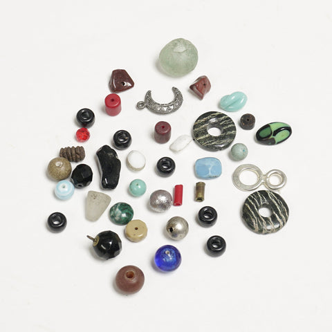 Assorted glass and metal beads