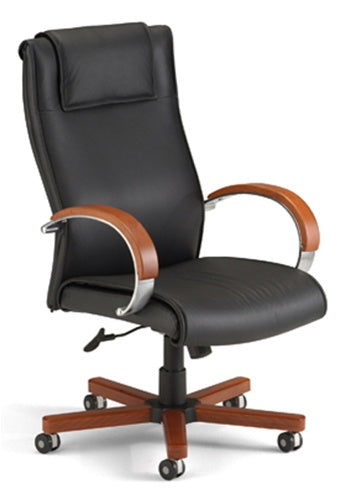 OFM Executive Leather Chair with Wood Accents (Hi-Back) 560-L