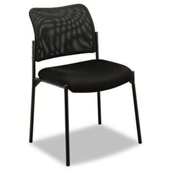 VL506 Stacking Guest Chair, Mesh Back, Padded Mesh Seat, Black BSXVL506MM10 by Basyx