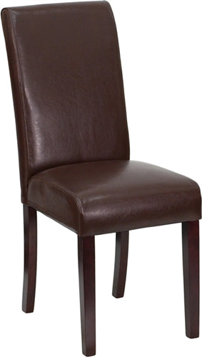 Dark Brown Leather Upholstered Parsons Chair by Flash Furniture