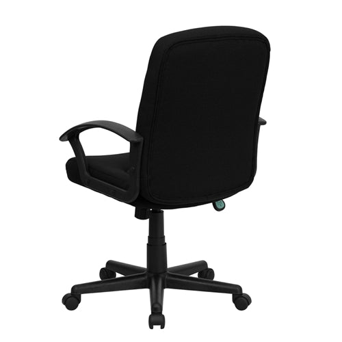 Mid-Back Black Fabric Task and Computer Chair with Nylon Arms by Flash Furniture