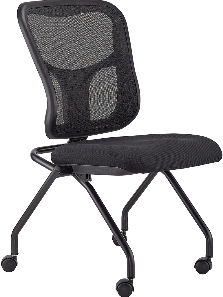 Eurotech Flip mesh/fabric Chair w/ Casters no arms- black NT1000