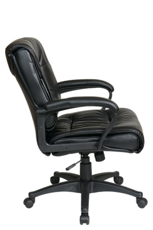 Deluxe Mid Back Leather Chair with Padded Loop Arms by Office Star