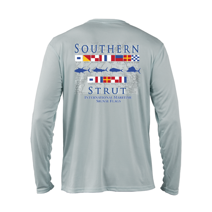 A silver performance shirt with 40 UV protection. The maritime flag design has