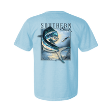 Load image into Gallery viewer, Printed on a Comfort Color chambray colored t-shirt the mahi mahi keeps it simple in the ocean with a blue theme throughout the design with hints of green, yellow, and red.