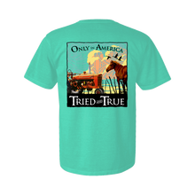 Load image into Gallery viewer, Printed on a Comfort Color chalky mint colored t-shirt the only in america shirt is a framed peaceful ranch scene. With a Horse on the right side and an old red tractor on the left.