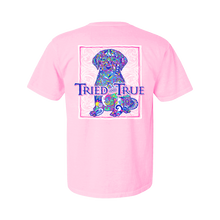 Load image into Gallery viewer, Printed on a Comfort Color blossom colored t-shirt and part of our mosaic collection, the cute mosaic puppy really pops with all its vibrant colors in front of a white Tried & True signature wave background.