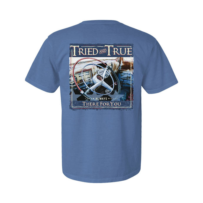 Printed on a Comfort Color washed denim colored t-shirt, a Tried & True old truck wheel as the main image. With the Brand name above and