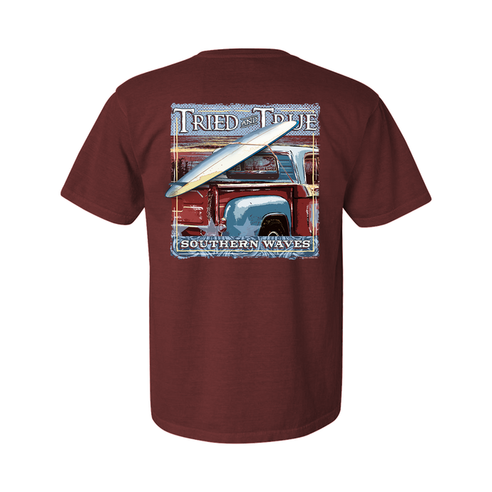 Printed on a Comfort Color brick colored t-shirt the southern waves truck has
