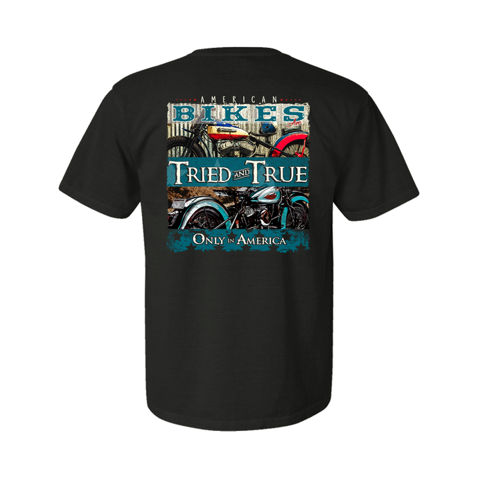 Printed on a Comfort Color pepper color colored t-shirt the American Bikes has two classic motorcycles/bikes. The top with a red theme and the bottom a blue, with
