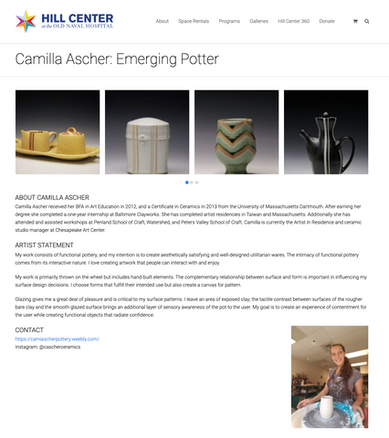 Camilla Ascher at Pottery on the Hill