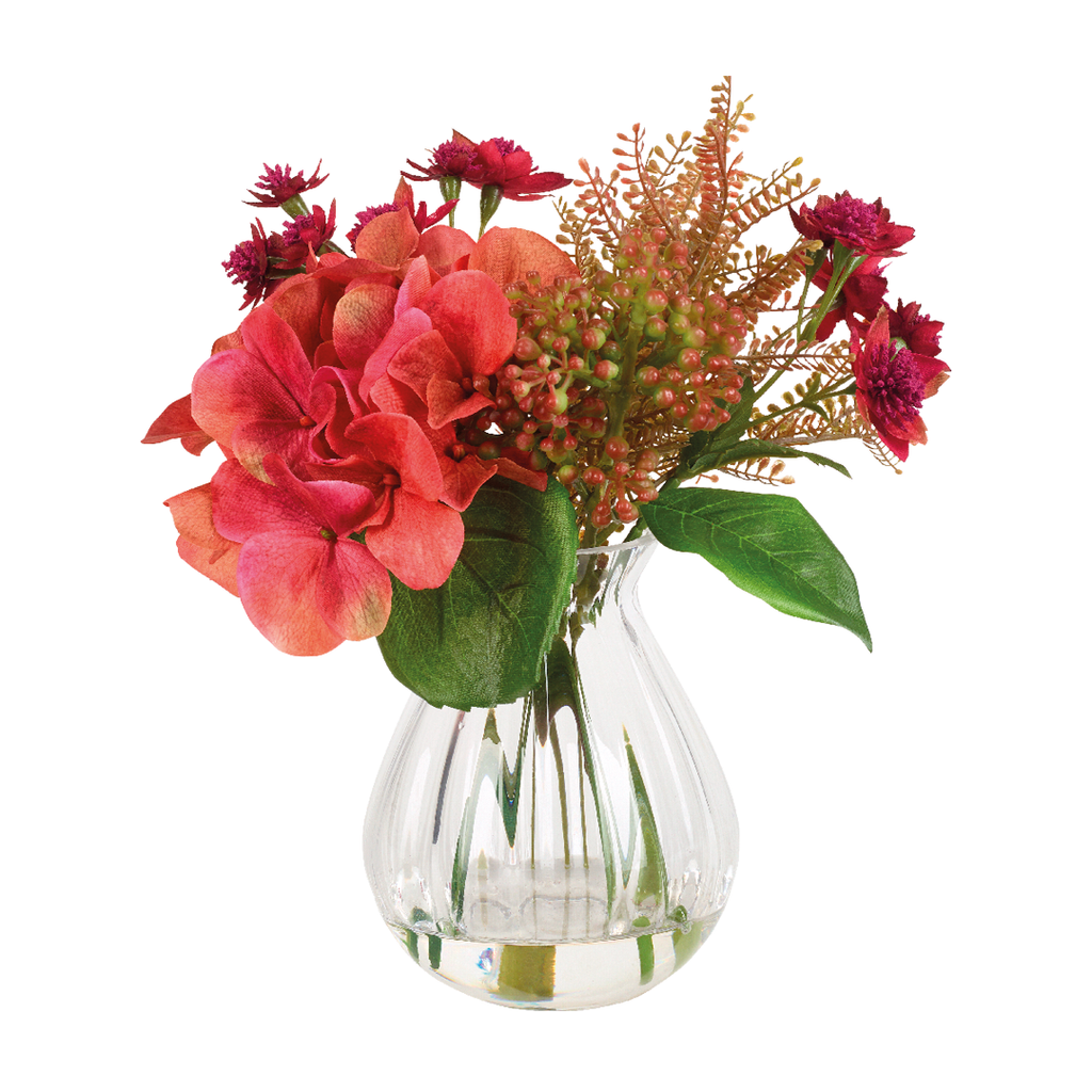 Bouquet d'hortensias et astrances artificiels corail et rouge H28