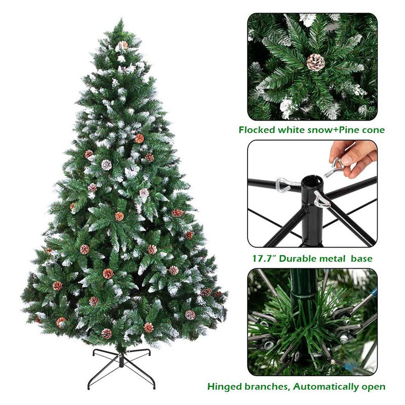 6ft Spray White Pine Cone christmas Tree