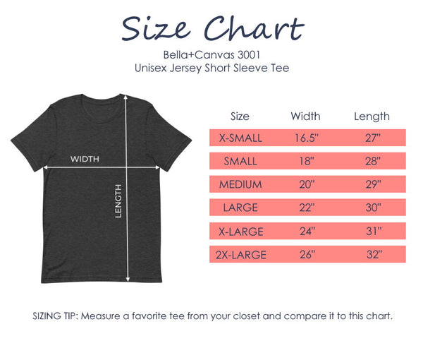 Sizing guide for the Bella + Canvas 3001 unisex jersey short sleeve t-shirt.
