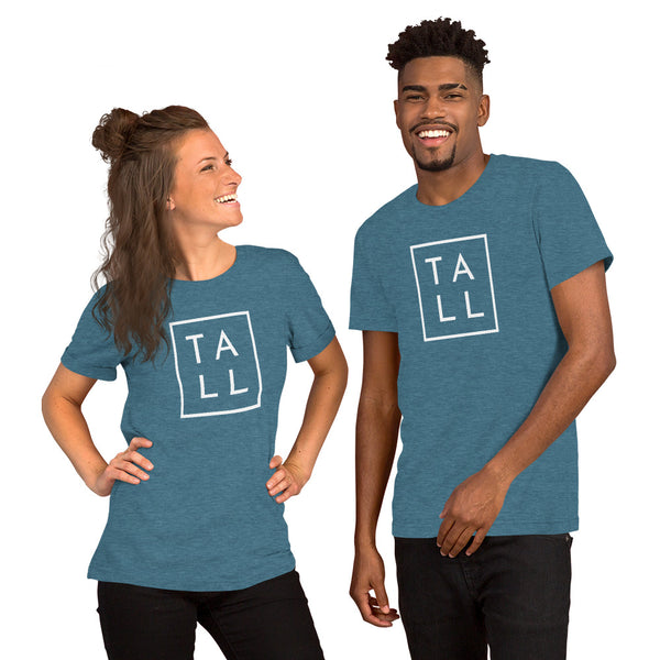 "Unisex graphic tee with the word ""TALL"" boxed in."